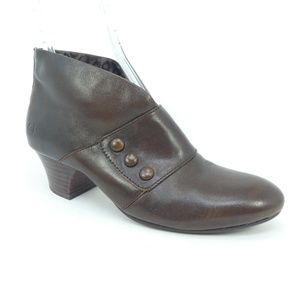 Born Brown Leather Granny Ankle Boots
